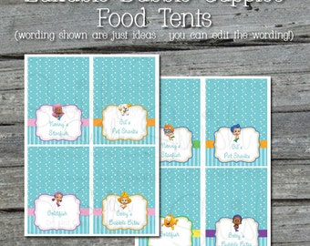 """Bubble-themed Editable 2x4"""" Food Labels - Guppy Starfish Goldfish Bubbles - EDITABLE - Instant Download"""