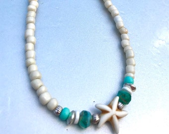 Necklace, Beach Necklace, Starfish Necklace, Beaded Necklace, Womans Necklace, Beach Jewelry, Necklaces for Women