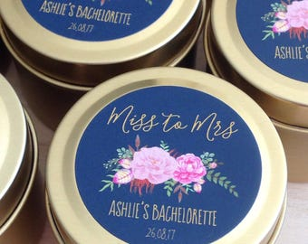 BACHELORETTE PARTY CANDLES/Soy Candle/Petite 2oz Tin/Silver or Gold/Hens night/Girls night/Wedding