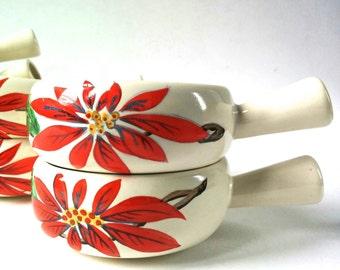 1940s Diana Poinsettia Ramekins. Set of Seven Very Rare Australian Pottery Bowls. Mid Century Diana Pottery