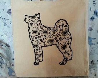 Box bottom canvas tote bag with vinyl fancy Akita dog print