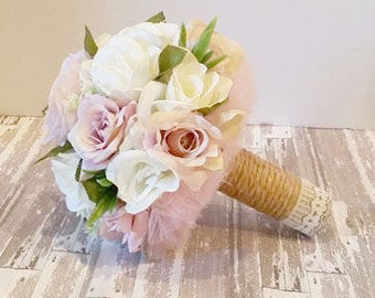 Handmade Keepsake Bridal Bouquet, Natural look flowers, soft pastel lavender amethyst lilac ivory off white greenery muted green lace jute