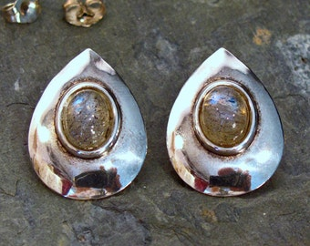 Earrings: Labradorite Sterling Silver Posts ~ Teardrop Shield Earrings