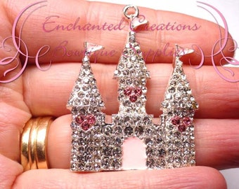"2"" Pink and White Elegant Castle Charm, Rhinestone Chunky Jewelry Pendant, Planner Charm, Keychain, Bookmark, Zipper Pull, Purse Charm"