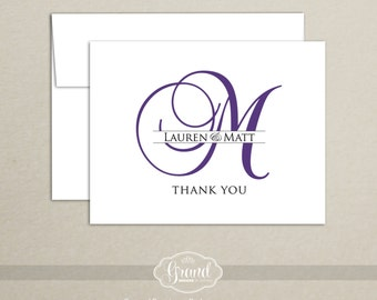 Monogram Thank You Card Set of 10 Personalized Custom