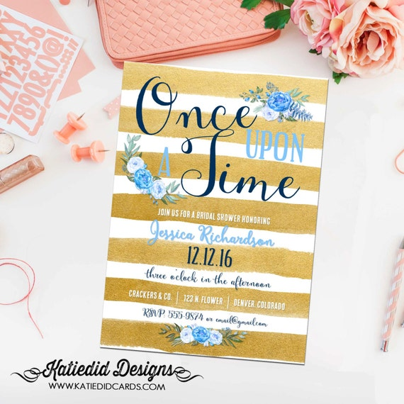 once upon a time storybook baby boy shower invitation little prince gold stripe floral couple sprinkle baptism birthday gay | 12111 katiedid