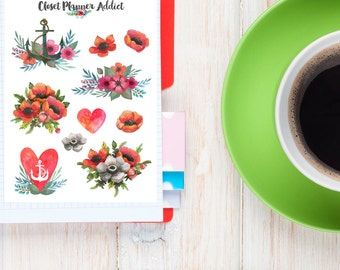 Watercolour Nautical Floral Heart Planner Stickers (S-047)