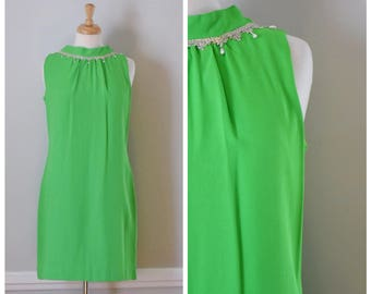 Vintage Dress / Vintage 60s Dress / Sleeveless Dress / 60s Dress / 60s Mod Dress / Lime Green Dress / 60s Party Dress / Size Small