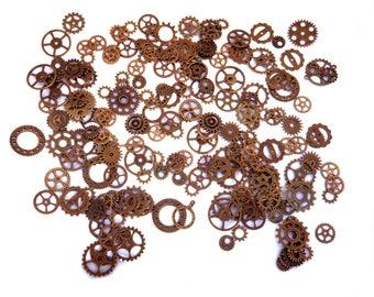 200 Gears cogs steampunk BRONZE large brass watch gears mechanism set