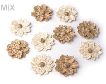Burlap flower, handmade burlap flower, flower from burlap for millinery, burlapflower for DIY projects set of 10 pcs