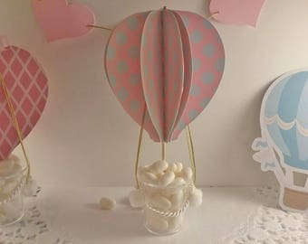 Hot air balloon perfect for use as a centerpiece or candy container