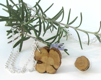 Dew of the Sea - Rosmarinus officinalis - Rosemary Twig Wooden Stud Earrings And Pendant Set by Tanja Sova
