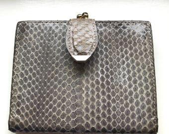 Vintage Women's Bosca Gray Whip Snake Skin Wallet