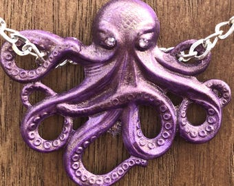 Necklace Harley Q the Octopus Pendant in Amethyst Purple  Handpainted