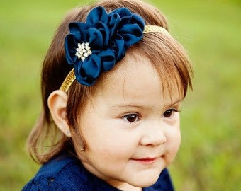 Navy Blue & Gold Glitter Headband -  Gold Metal Tone Rhinestone Center - Newborn Infant Baby Toddler Girls Adult Wedding