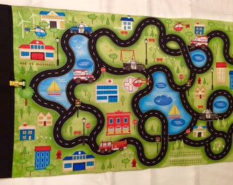 Toy Car Roll Up Play Mat, Toy Car Fold Up Play Mat, Car Playmat, Travel toy car roll up play mat