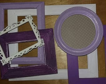 Distressed Frame Set. Violet Picture Frames. Shabby Chic Picture Frame Collage