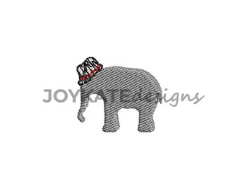 Mini Fill Stitch Elephant with Houndstooth Hat Embroidery Design