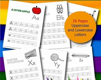 Alphabet Tracing Coloring Book - Printable PDF Book