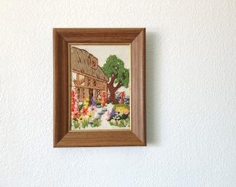 Wildflower yard Crewel, Home scene Crewel, Floral Crewel, Vintage Crewel, Floral needlepoint art, Floral Needlepoint, Floral Fiber Arts