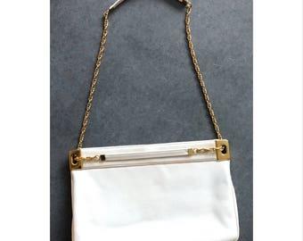 Vintage en cuir blanc Saks Fifth Avenue sac à main sac à main