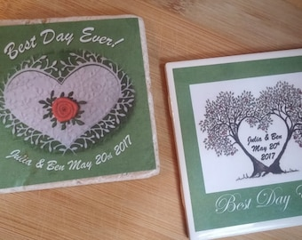 Best Day Ever Favors Woodland Favors Love Birds Favors Wedding Favors Wedding Favor Coasters Personalized Coasters Custom Coasters Ceramic