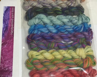 10 Koigu KPPPM sock yarn mini skeins