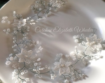 Wedding Flower crown, wedding crown, beaded flower crown, bridal headpiece, baby's breath wreath, crown,boho, first communion, faerie weddin