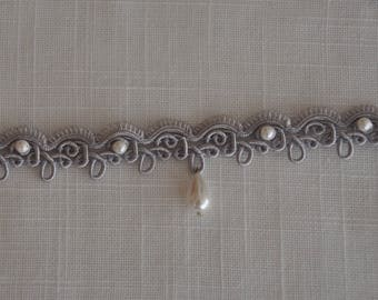 Grey tassel Choker necklace