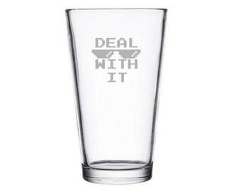 Deal with it meme etched pint glass, internet meme glass, reddit gifts, dank meme present, Dog Meme Gift, sunglasses Meme Glass, wine gift