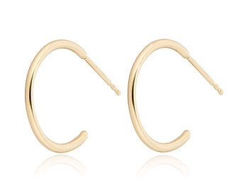 Solid 14K Gold Hoop Earrings, Small Hoops, 14K Gold Half Inch Hoop Earrings, Also available in 14K white gold and 14K rose gold