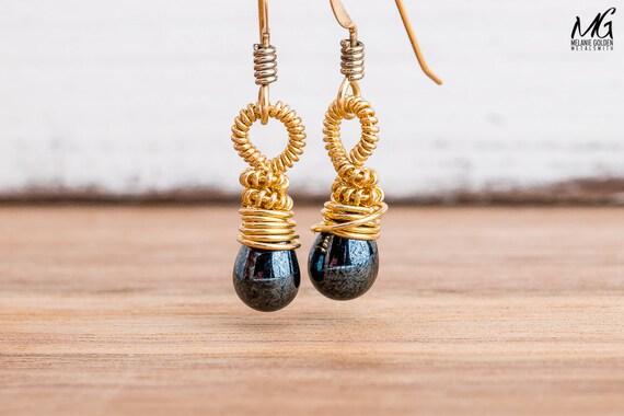 Wire Wrapped Black Earrings in 14K Gold Fill