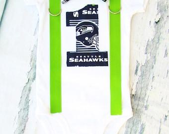 Baby boy Seattle Seahawks NFL Football Themed first birthday onesie, boy first birthday one Seattle Seahawks first birthday bow tie set