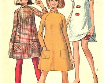 Vtg 60s Simplicity 7284 Junior Miss Mod Mini Tent Dress and Bloomers Sewing Pattern Size 13 Bust 33