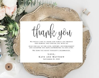 Wedding thank you notes Printable templates Editable thank you template Thank you for guests Thank you table cards for Wedding cards #vm41