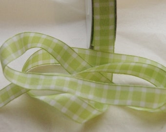 5 yards Ribbon, Lime Green, Spring Green Gingham Ribbon 5/8 inch, Plaid Ribbon Trim, Hair Bows, Mixed Media, Scrapbook  (G Lime)