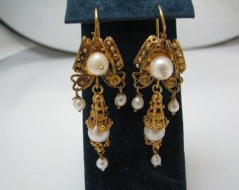 b032 Lovely Vintage Filigree Pearl Earrings in 10k Yellow Gold