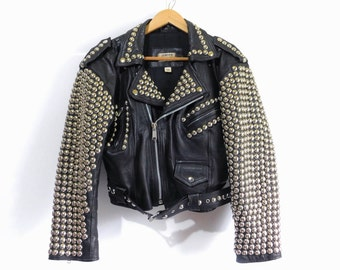 Very Rare Studded Full Armor Black Leather Jacket~London Leatherwear ~(Size Small to Medium US Women's)~