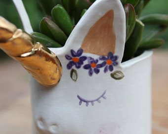 Ceramic Unicorn Planter in Stoneware with White Glaze and Gold Horn