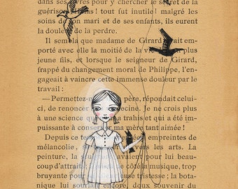 Book Pages illustration - Pen and paint, girl walking birds, edward gorey, print 5x7