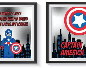 Captain America Superhero Art Print Set   Qty 2   Avengers Poster, Kids  BEDROOM,