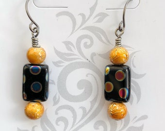 Gold and black glass bead drop earrings