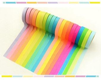 10 rolls Washi Tape set Rainbow color Masking Tape colorful mini washi tapes sticker trim lace border ribbon deco mail message board photo