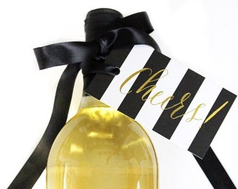 Gold Foil Gift Tags - Cheers Gift Tags - Wine Tag