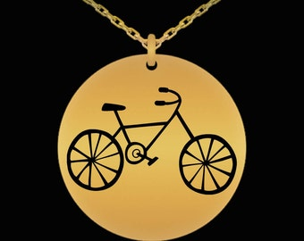 Mother's Day Gift For Cyclist, Bike Rider, Her, Friend- Bicycle Necklace Jewelry Laser Engraved 18 Karat Gold Plated Necklace- Cyclist Gifts