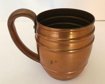 Vintage Barrel Shaped Copper Mug Vintage Condition-Moscow Mule-Cavalier National SIlver