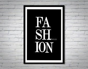 Black and White Fashion Chic Wall Art Print