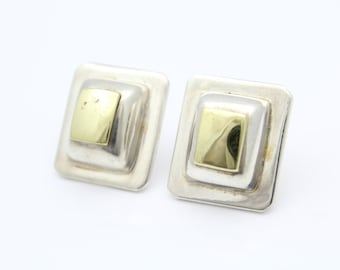 Vintage Artisan Rectangle Earrings in Brass and Sterling Silver. [8568]