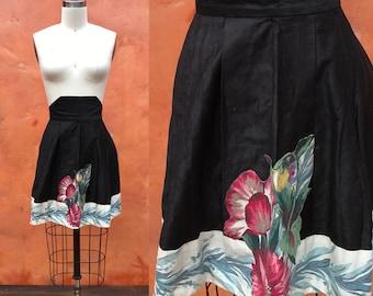 Vintage 50s 60s Black Floral Cutout Half Waist Apron. Vintage 1950s waist apron. Black