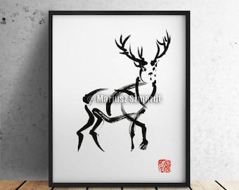Deer, Wild Animal, Wild Life, Tribal Painting, Tattoo Artwork, Deer Hunting, Surreal Painting, Sumi-e, Minimalist Painting